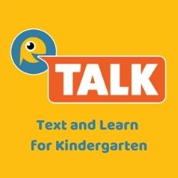 """little yellow fish with speech bubble saying """"TALK"""" plus Text and Learn for Kindergarten"""